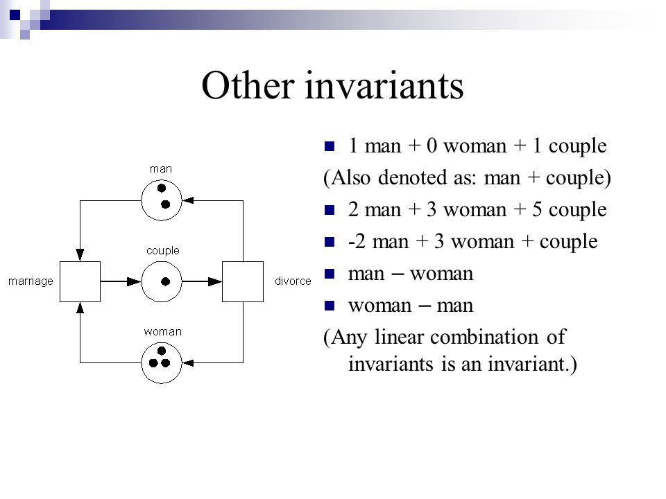 Other invariants 1 man + 0 woman + 1 couple