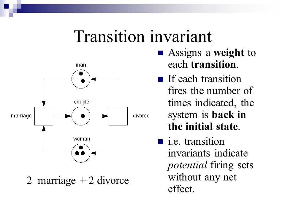 Transition invariant Assigns a weight to each transition.