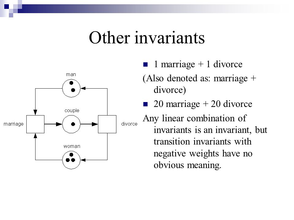 Other invariants 1 marriage + 1 divorce