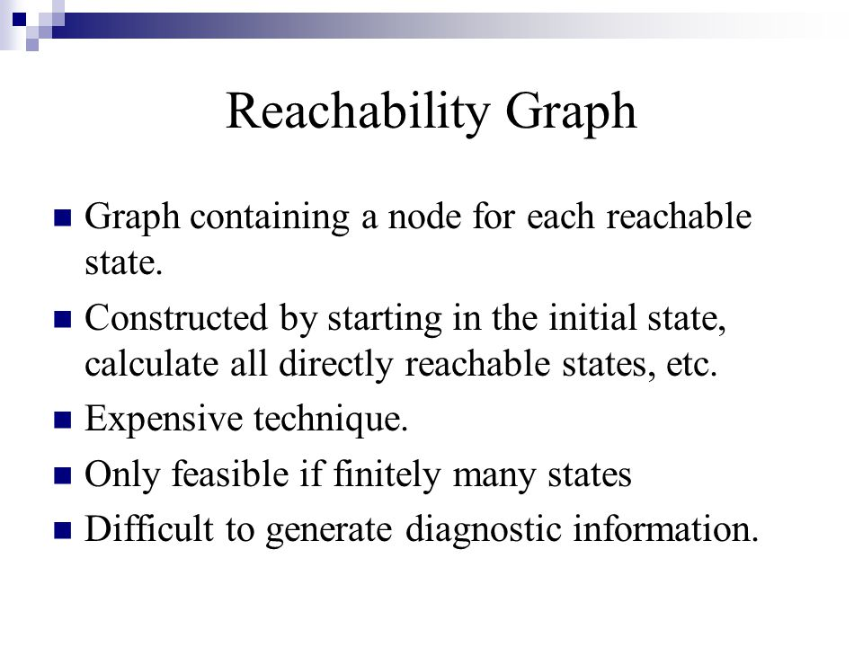 Reachability Graph Graph containing a node for each reachable state.