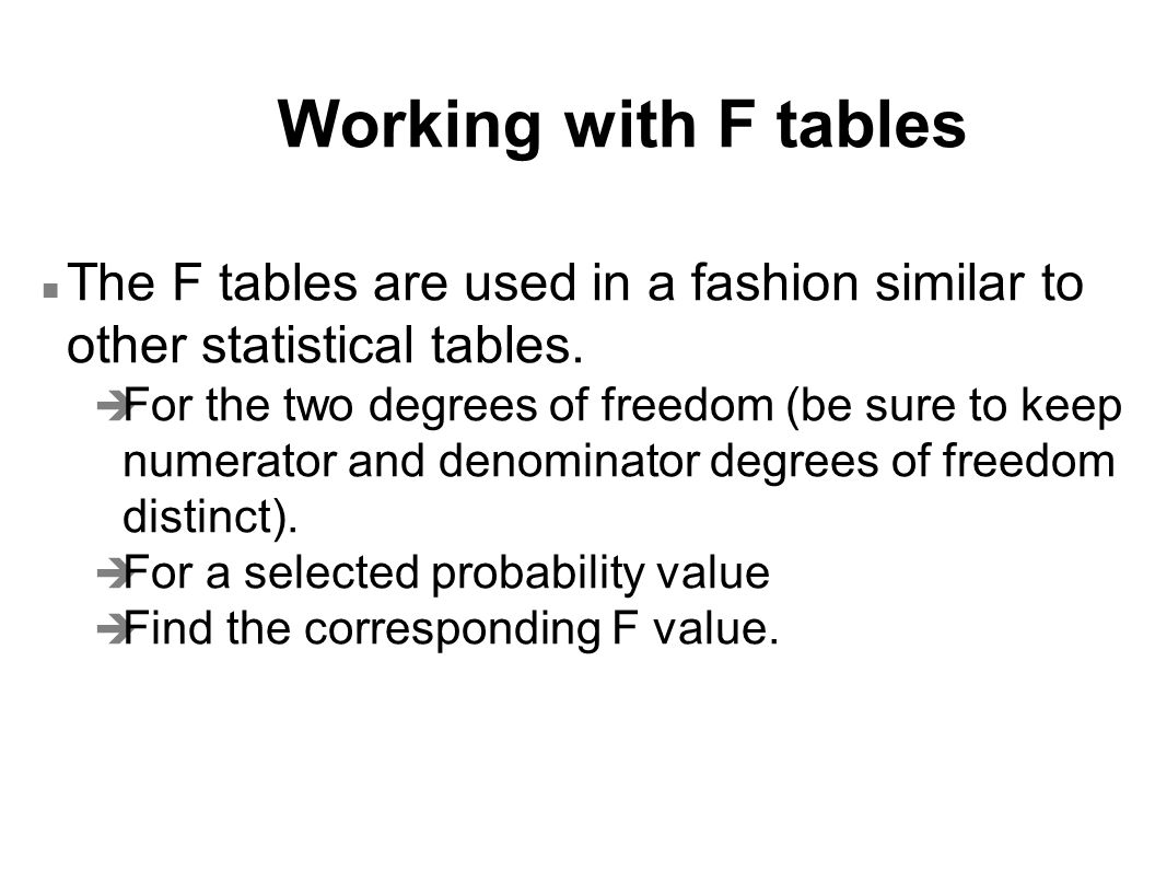 Working with F tables The F tables are used in a fashion similar to other statistical tables.