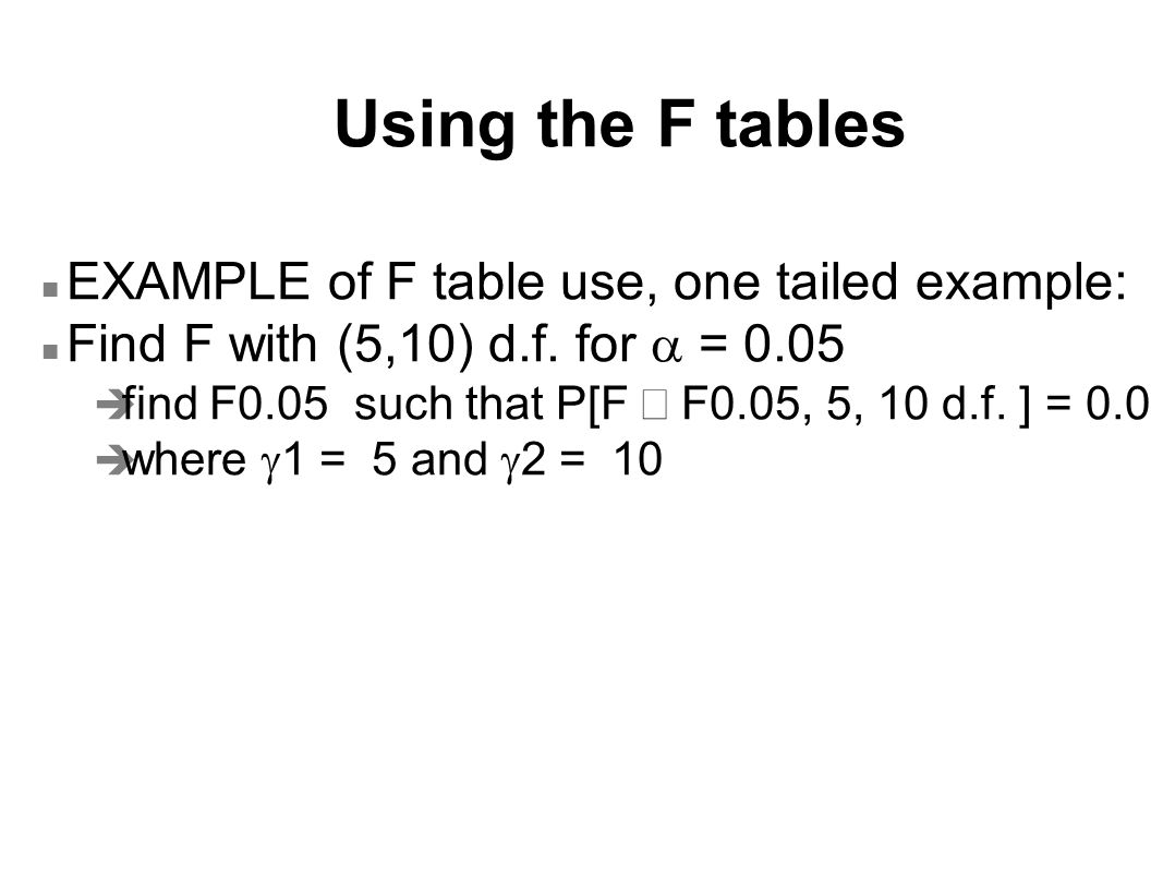 Using the F tables EXAMPLE of F table use, one tailed example:
