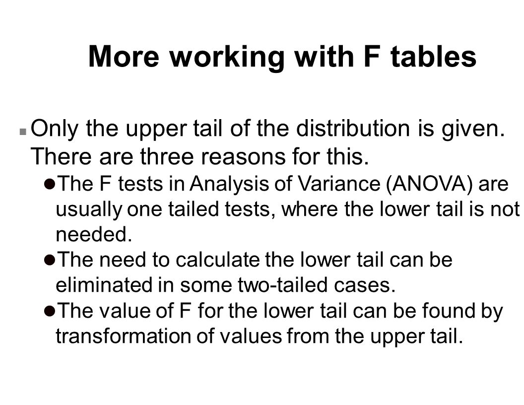 More working with F tables
