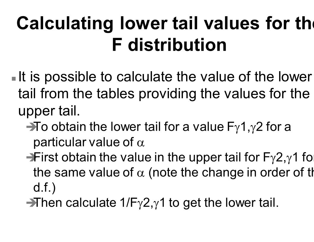 Calculating lower tail values for the F distribution