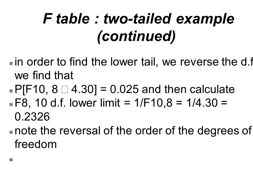 F table : two-tailed example (continued)