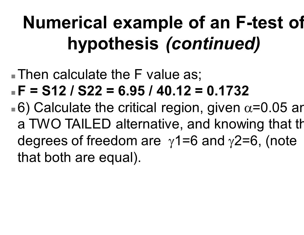 Numerical example of an F-test of hypothesis (continued)
