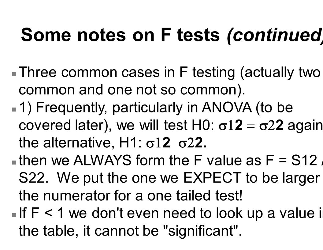 Some notes on F tests (continued)