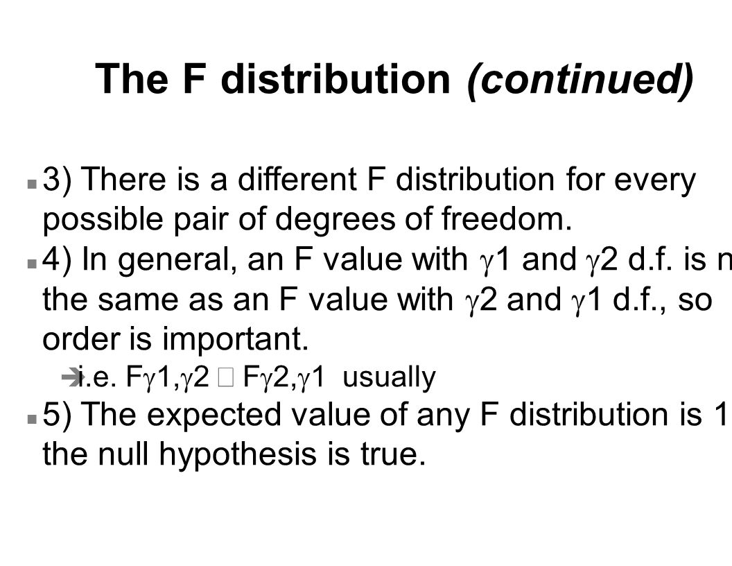 The F distribution (continued)