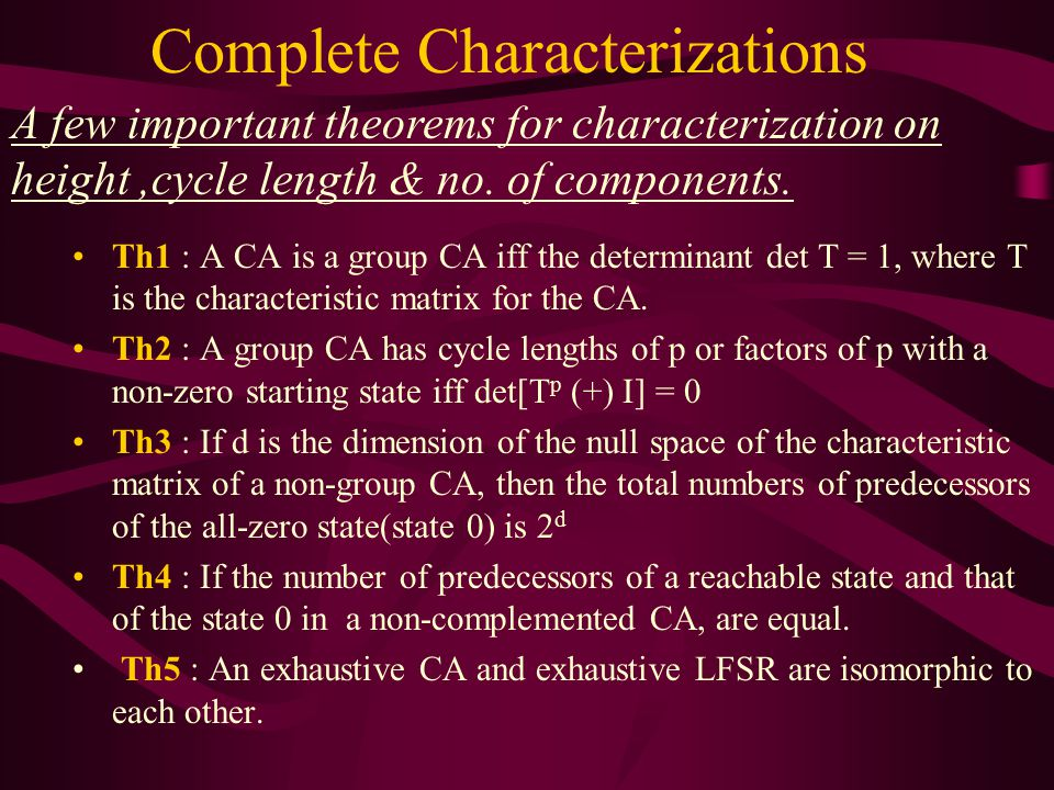 Complete Characterizations