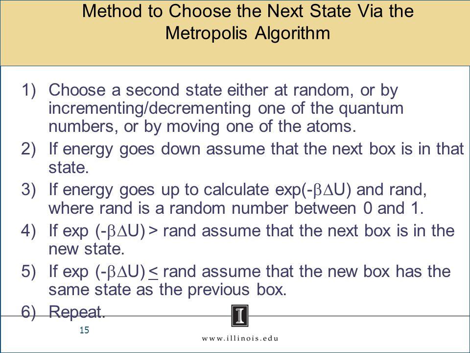 Method to Choose the Next State Via the Metropolis Algorithm