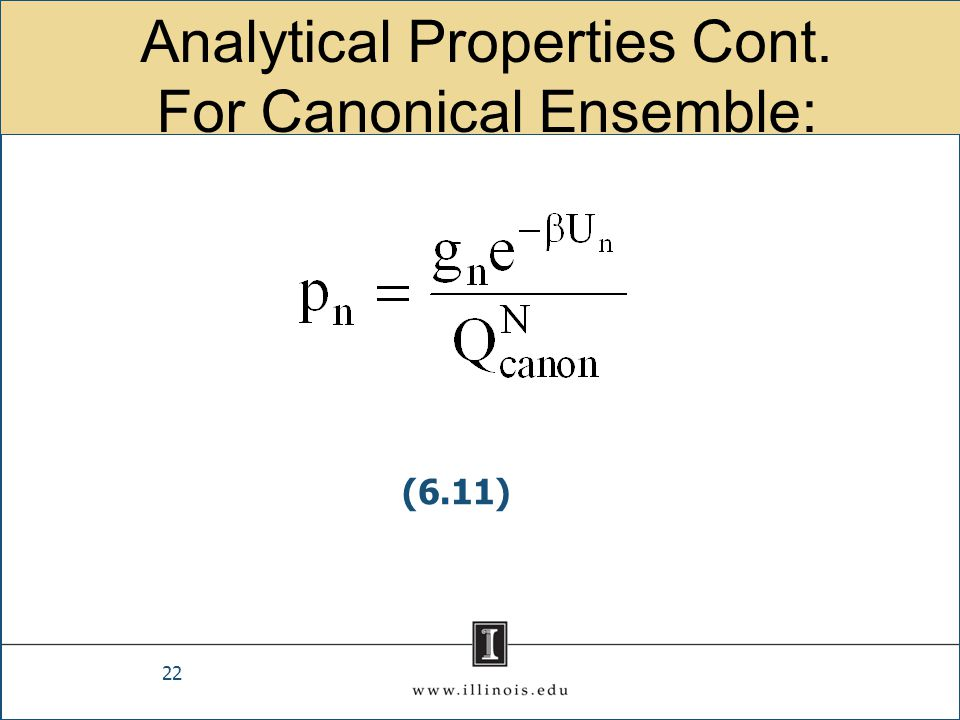 Analytical Properties Cont. For Canonical Ensemble: