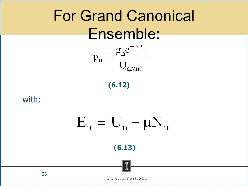 For Grand Canonical Ensemble: