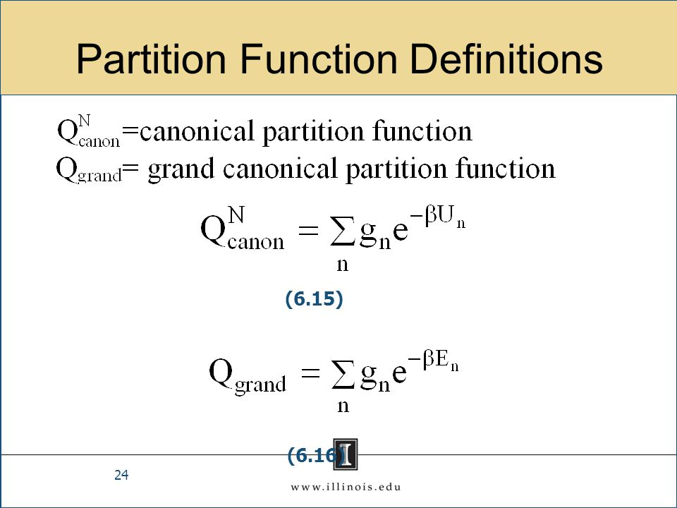 Partition Function Definitions