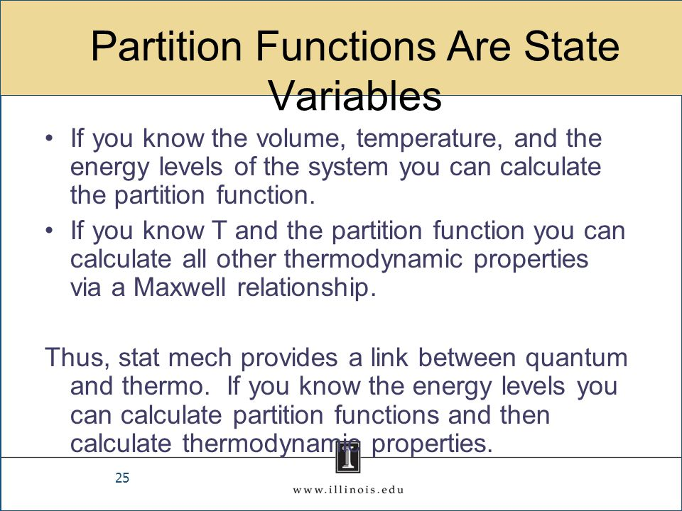Partition Functions Are State Variables