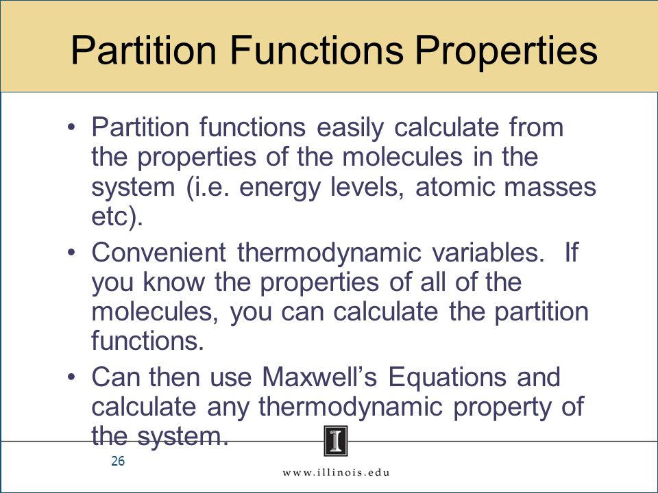 Partition Functions Properties