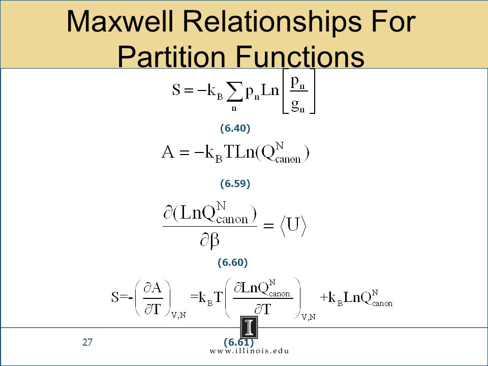 Maxwell Relationships For Partition Functions