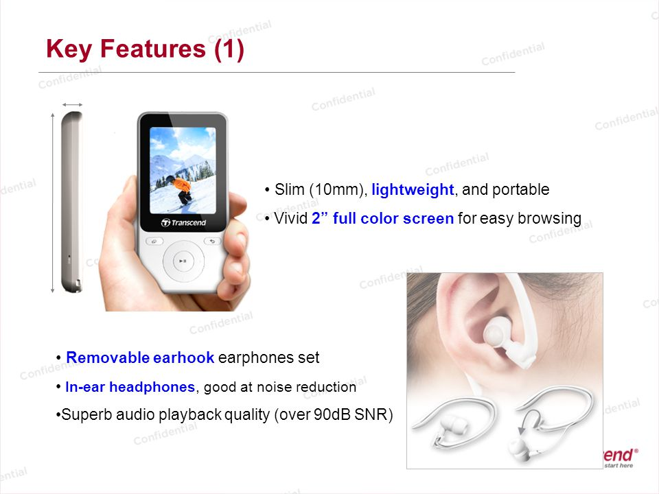 Key Features (1) Slim (10mm), lightweight, and portable