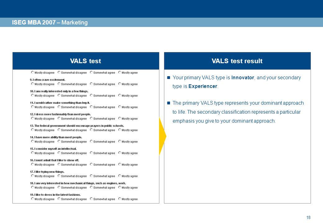 VALS test VALS test result