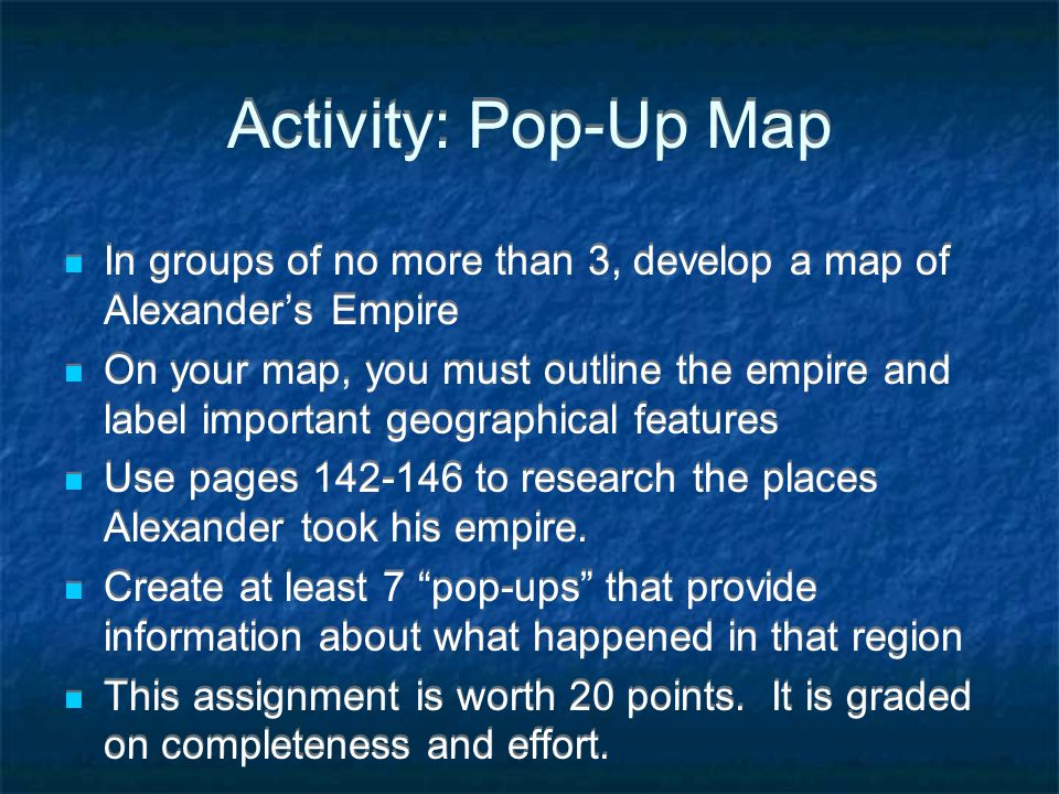 Activity: Pop-Up Map In groups of no more than 3, develop a map of Alexander's Empire.
