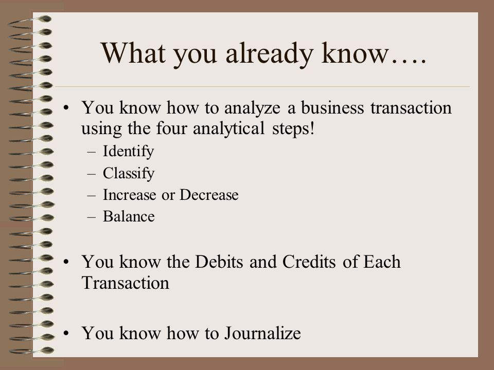 What you already know…. You know how to analyze a business transaction using the four analytical steps!