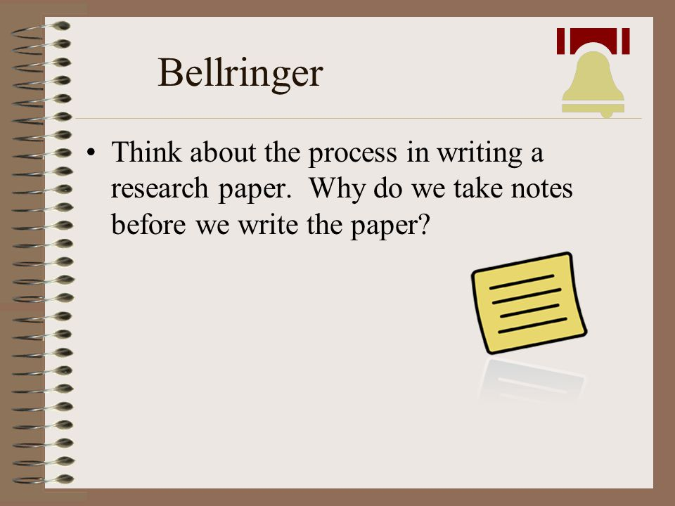Bellringer Think about the process in writing a research paper.