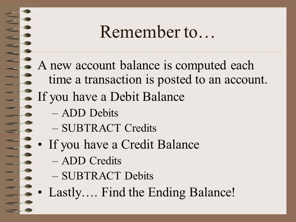 Remember to… A new account balance is computed each time a transaction is posted to an account. If you have a Debit Balance.
