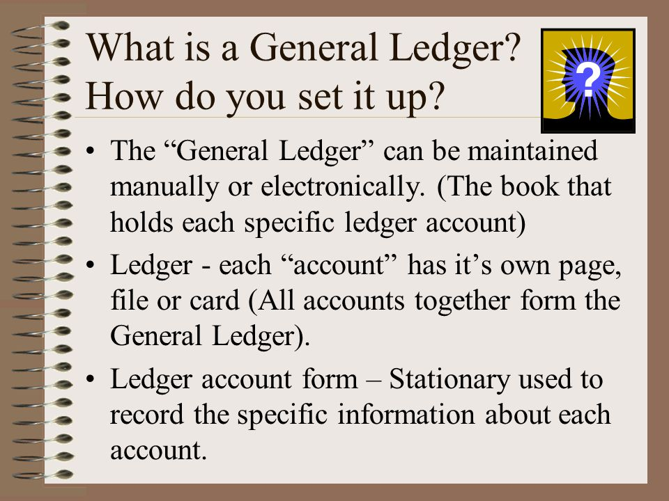 What is a General Ledger How do you set it up
