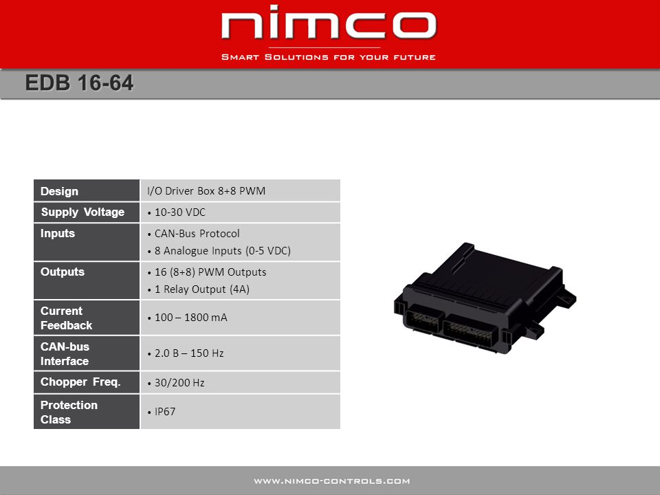 EDB 16-64 Design I/O Driver Box 8+8 PWM Supply Voltage 10-30 VDC