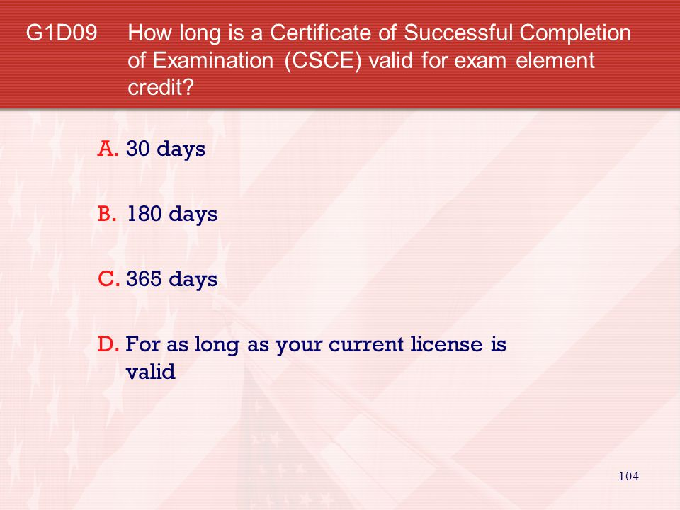 G1D09 How long is a Certificate of Successful Completion of Examination (CSCE) valid for exam element credit