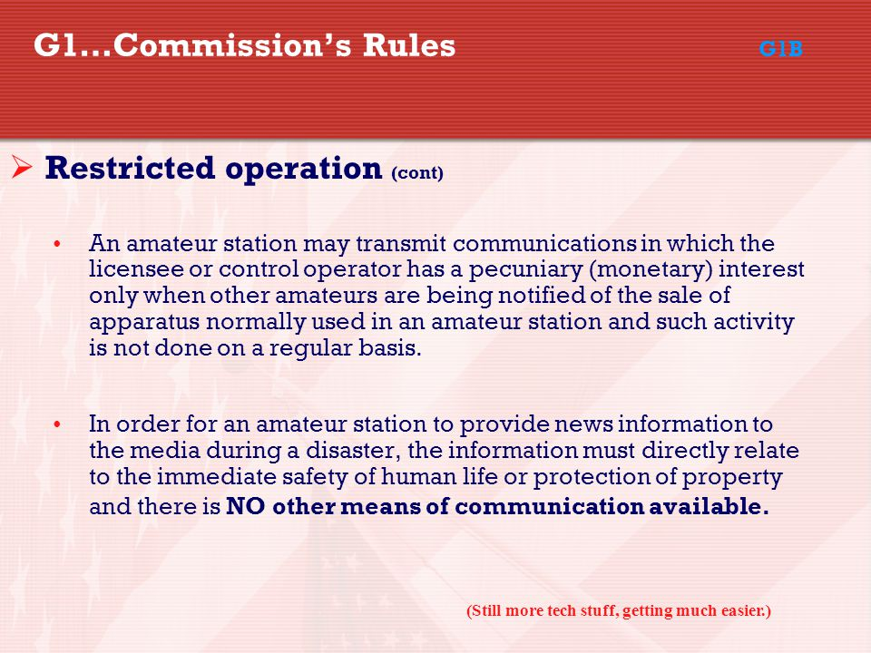 G1…Commission's Rules G1B
