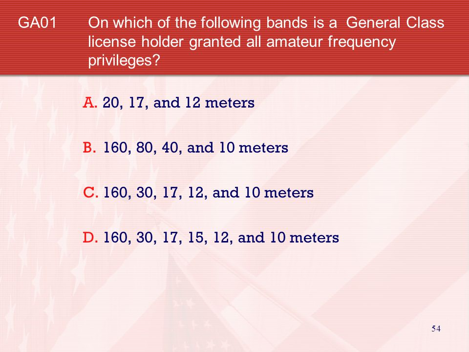 GA01. On which of the following bands is a