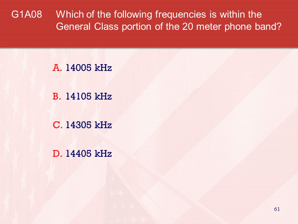 G1A08. Which of the following frequencies is