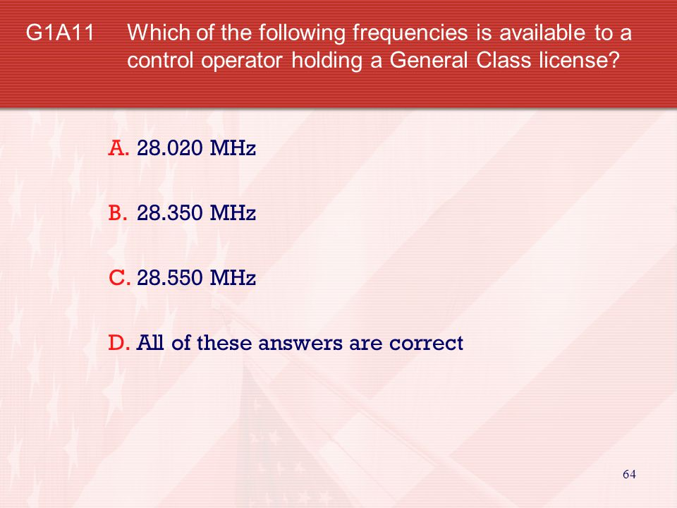 G1A11. Which of the following frequencies is