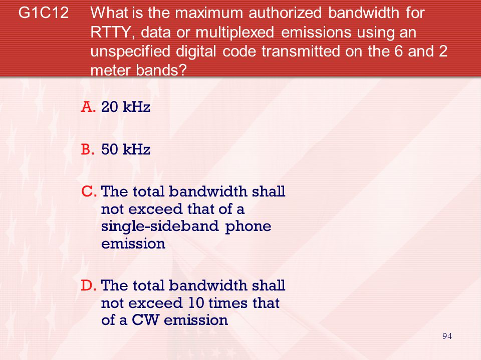 G1C12 What is the maximum authorized bandwidth for RTTY, data or multiplexed emissions using an unspecified digital code transmitted on the 6 and 2 meter bands