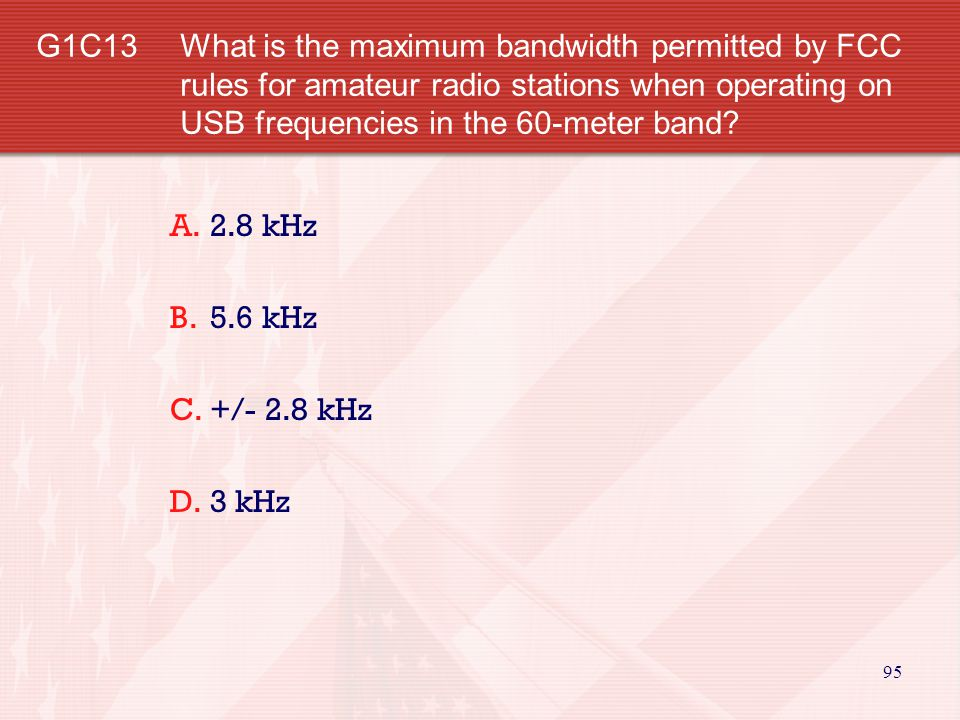 G1C13 What is the maximum bandwidth permitted by FCC rules for amateur radio stations when operating on USB frequencies in the 60-meter band