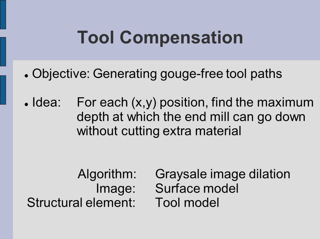 Tool Compensation Objective: Generating gouge-free tool paths