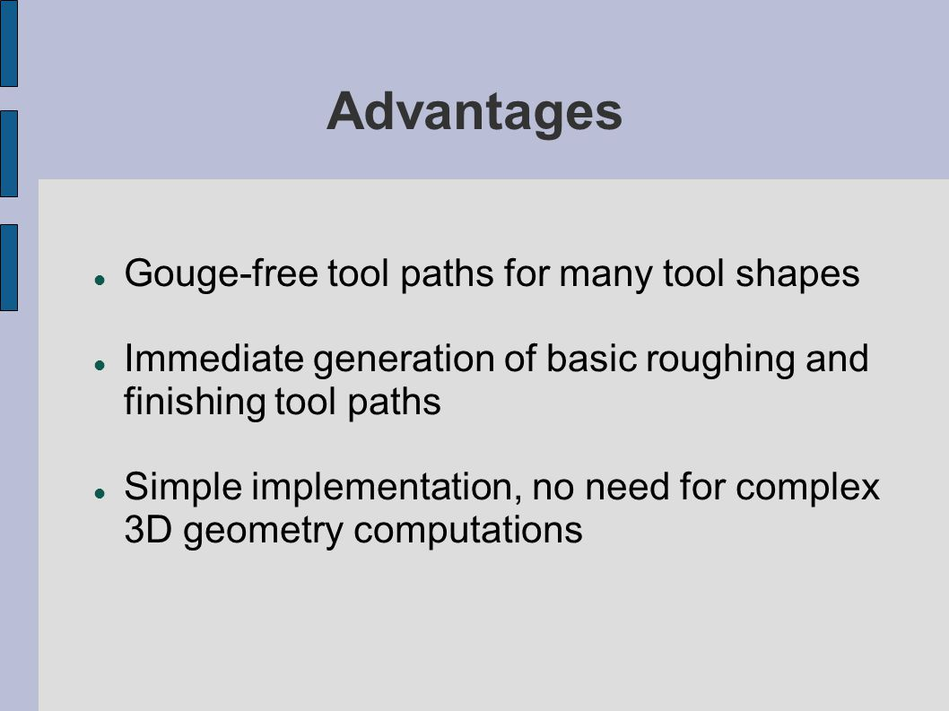 Advantages Gouge-free tool paths for many tool shapes
