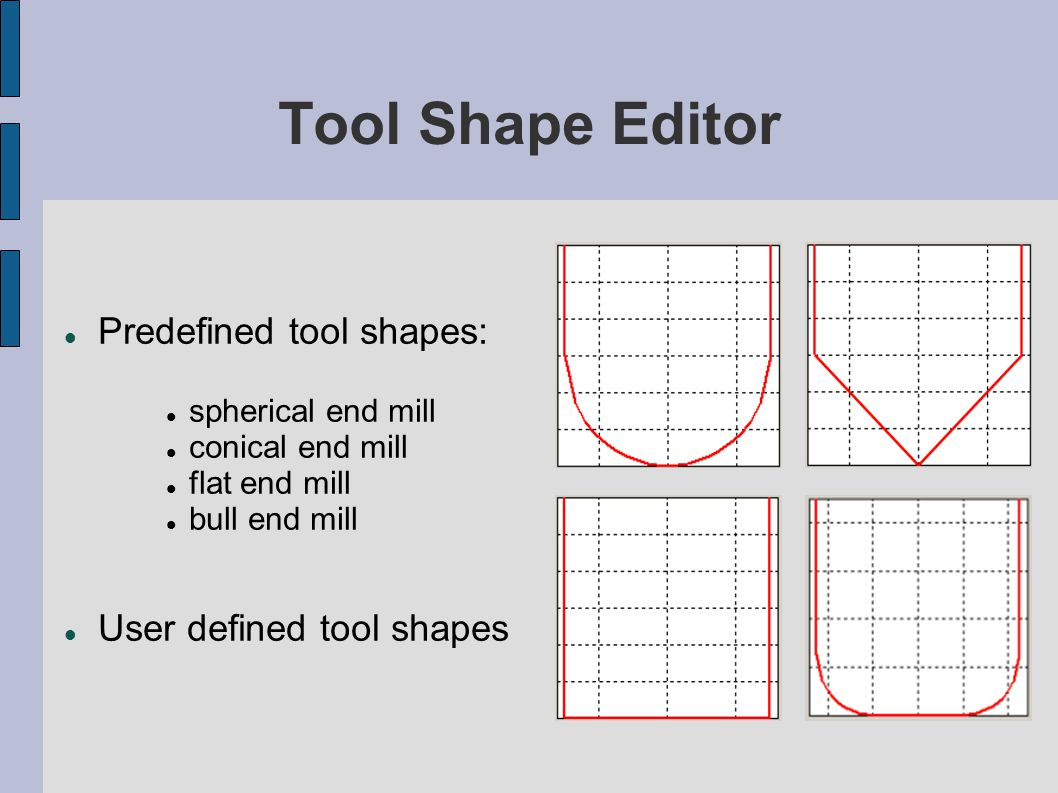 Tool Shape Editor Predefined tool shapes: User defined tool shapes