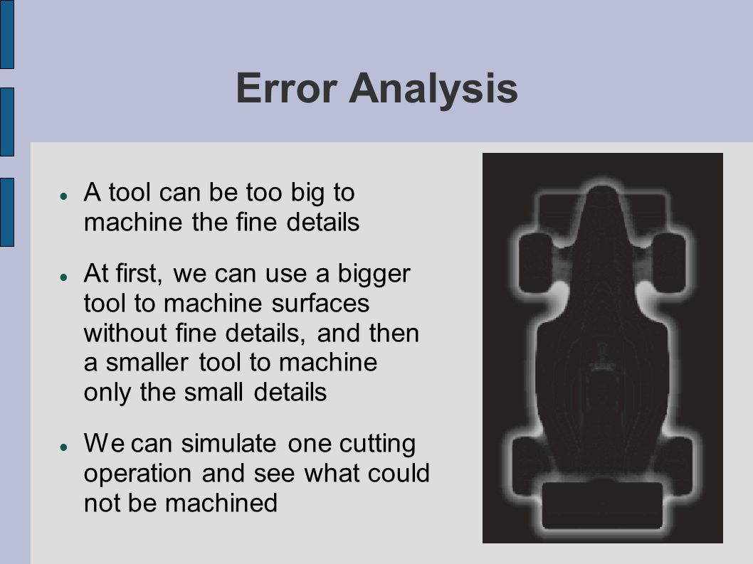 Error Analysis A tool can be too big to machine the fine details