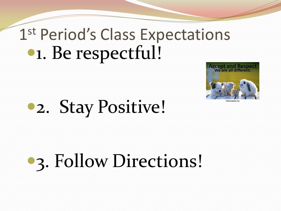 1st Period's Class Expectations
