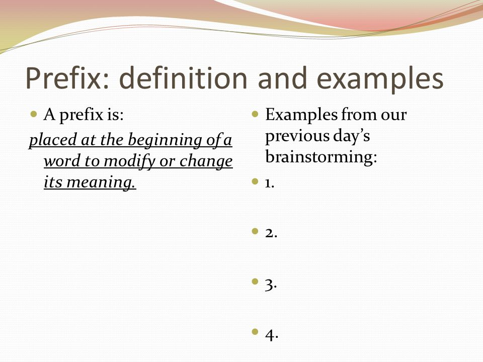 Prefix: definition and examples