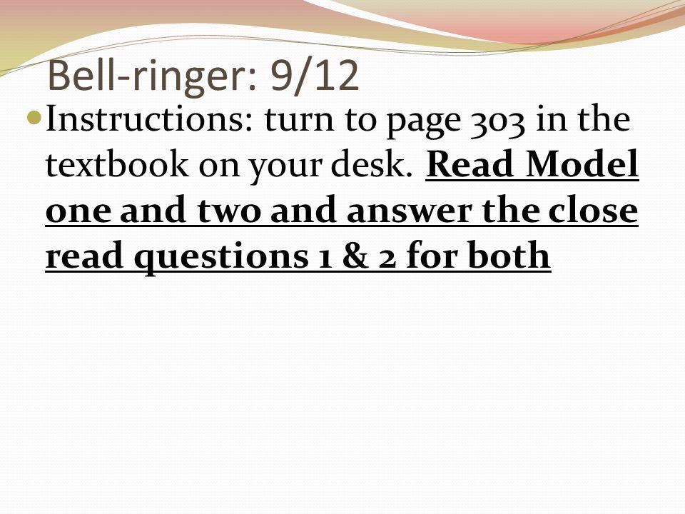 Bell-ringer: 9/12