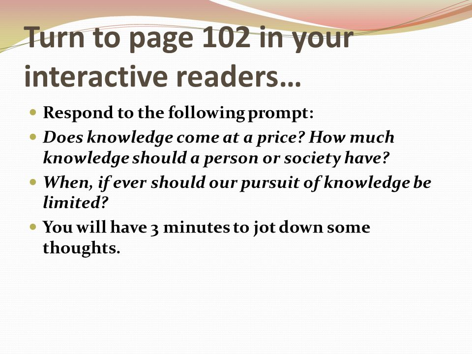 Turn to page 102 in your interactive readers…
