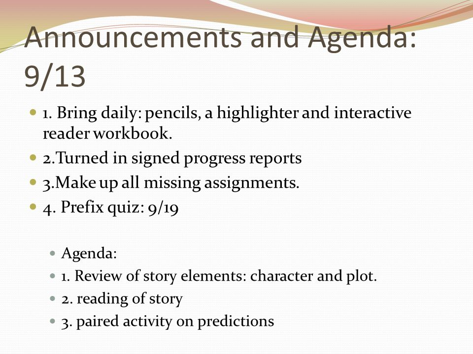 Announcements and Agenda: 9/13