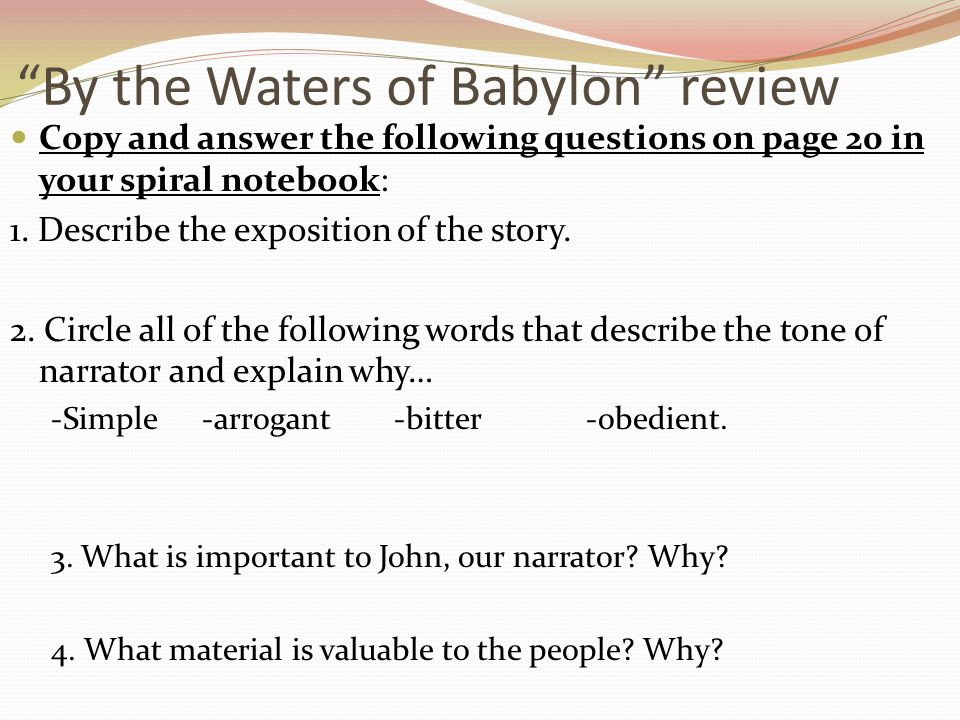 By the Waters of Babylon review
