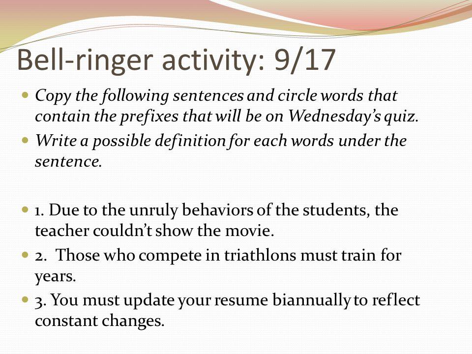 Bell-ringer activity: 9/17