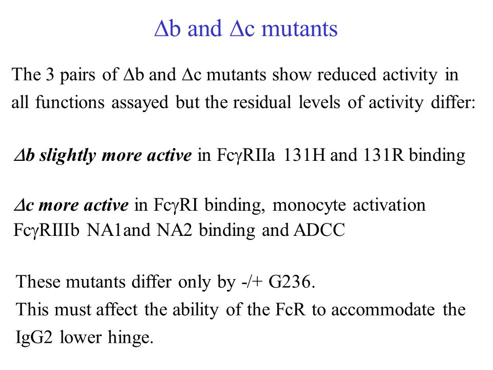 Db and Dc mutants The 3 pairs of Db and Dc mutants show reduced activity in all functions assayed but the residual levels of activity differ: