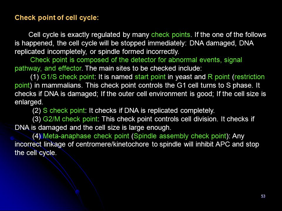 Check point of cell cycle:
