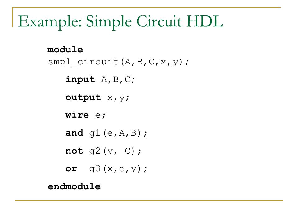 Example: Simple Circuit HDL