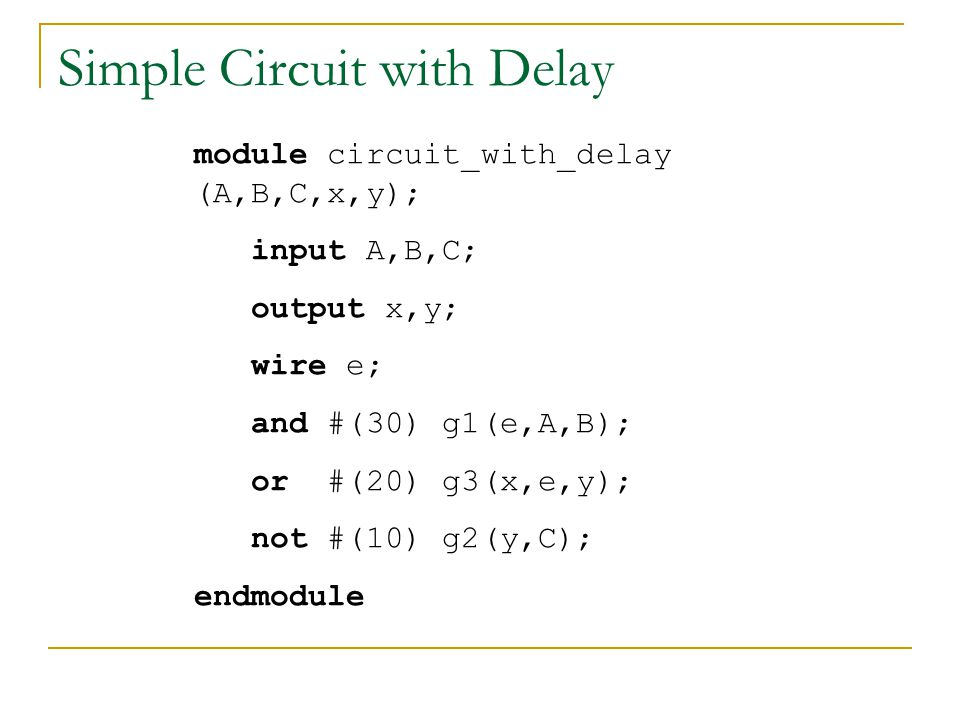Simple Circuit with Delay